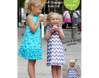 Party 'n Play Dresses and Matching Doll Dress ~ Multi-sized Sewing Pattern for Girls ~  Sizes 2-8 ~ olive ann designs OAD78