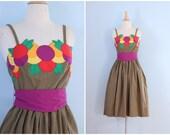 1970s cotton sun dress / 70s cotton dress / Tutti Frutti dress
