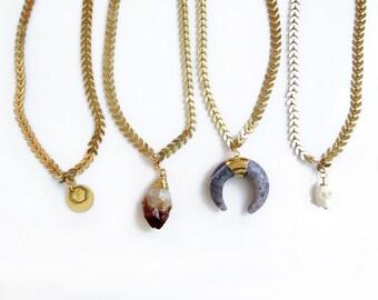 Amethyst Choker Necklace, Chain Choker, Double Horn Necklace, Short Fishbone Chain Necklace