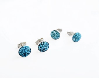 Silver Turquoise Studs, Teal Stud Earrings Sterling Silver, Tiny Studs, Everyday Earrings