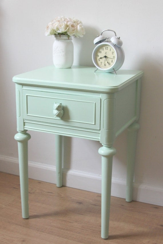 Small nightstandchic mint green nightstandhand painted for Mint green furniture paint