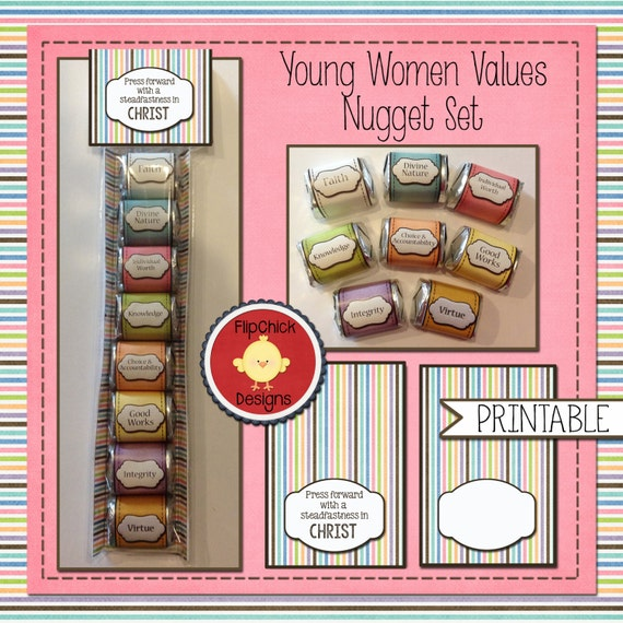 Printable Young Women Values Themed Nugget Treat Set