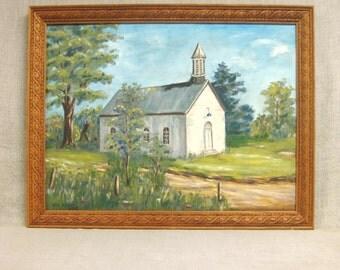 Landscape Painting, Church, Architecture, Painting of Church, Original, Architectural, Mid-Century, Rural, Large Painting, Framed Painting
