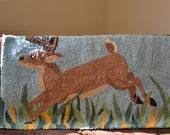 Hand Hooked Rug-Textile Art-Vintage Brown Deer Fiber Art---Textile Hanging-Woodland Decor-Log Cabin Latch Hook Rug Decor-Blue Rug--70s