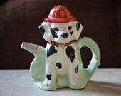 Fire Pup Teapot--Dalmatian Teapot--Vintage Handcrafted Black and White Dog Teapot-Dog Teapot 1996
