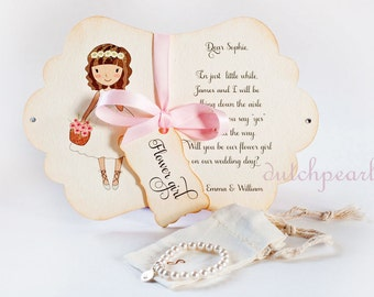 CARD and BRACELET Will you be my Flower Girl INVITATION in gift box with satin ribbon - personalized pearl bracelet flowergirl proposal