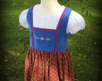 Blue and Red  Hand Embroidered Dirndl Dress Size 5 -Ready to Ship
