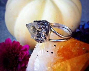 Manifestation Ring - Herkimer Quartz Diamond Sterling Silver Handcrafted Ring - Size 8 - Split Shank - Raw Crystal