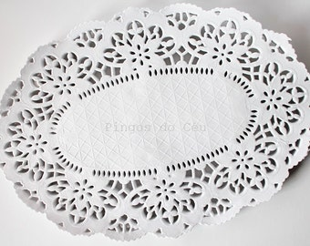 50 pcs Paper Doilies - French Lace Paper Doilies - Party - Scrapbooking - Packaging - 26 x 18 cms - Ready to Ship