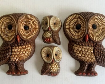 Vintage Owl Wall Hangings Set of Four 4 Grouping Foamcraft 70s