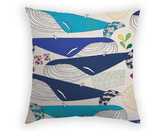 Decorative Pillow Throw Cushion Accent Pillow Whale Cushion Blue Cushion Sofa Pillow Linen Cushion Australia Bondi Anne Waters Design