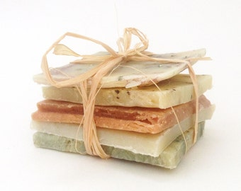 Sample Pack of Soap . Cold Process . Vegan . 6 oz . Essential Oils . Soap Ends Slices Variety