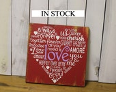 Valentine Sign/Subway Style/Heart/Typography/Wood Sign/Modern Decor/Valentine Decor/Holiday Decor/Red/Rustic