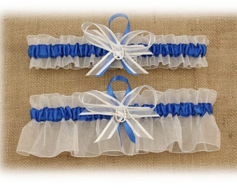 Sheer White Wedding Garter Set with Lucky Horseshoe Charms  (Your Choice, Single or Set)