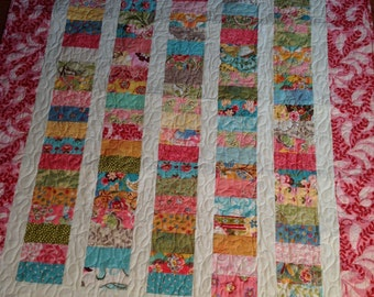 Chez Moi Coins Crib Quilt Baby Blanket -- pink, green, yellow, blue, red -- Hunky Dory, Sophie, Boutique fabric collections