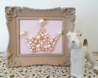 Pearl princess crown art.  Mosaic crown wall art.  Pastel pink and taupe.  Painted ornate frame.  Shabby chic nursery. Glitter picture.