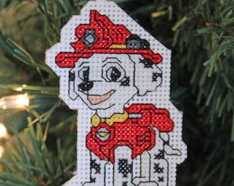 Handmade Marshall (Paw Patrol) Cross Stitch Christmas Ornament
