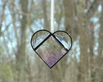 Stained glass heart suncatcher, clear iridescent heart, window decoration, heart ornament, heart gift under 15, small heart, love romance