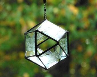 Glass orb suncatcher, textured stained glass suncatcher, prism bevel ornament, window decor, modern home decor, 3D geometric Octahedron