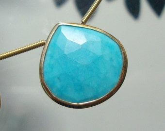 Blue Turquoise Faceted Heart Briolette Vermeil Sterling Silver Bezel Rim Connector Pendant, 19mm