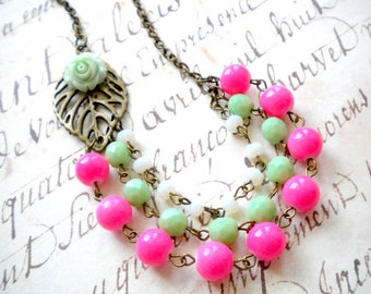 Flower Necklace Mint Green Necklace Colorful Statement Necklace Fuschia Necklace Flower Statement Jewelry Multi Strand Necklace