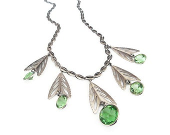 Art Deco Necklace, Germany Necklace, Silver Tone, Green Crystals, Open Back Crystal, Antique Jewelry