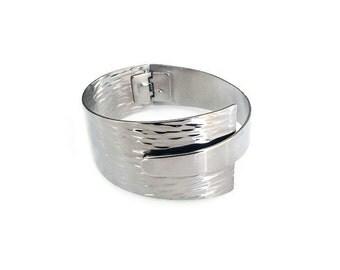 Napier Silver Bracelet, Bangle Bracelet, Cuff, Gazame Textured, Modernist, Vintage Bracelet, Vintage Jewelry