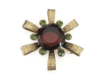 Capri Brooch, Vintage Brooch, Egyptian Revival,  Amber Topaz Glass, Green Rhinestone, Mid Century, Vintage Jewelry