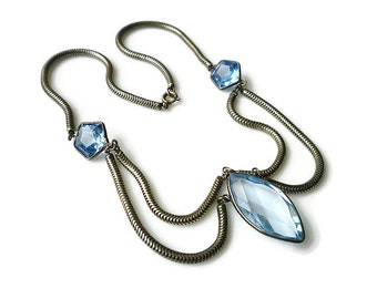 Art Deco Necklace, Sapphire Glass, Festoon Necklace, Silver Tone, Snake Chain, Antique Jewelry