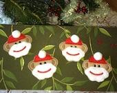 Sock Monkey Package Decorations/Tags, Sock Monkey Santa Ornaments, Santa Felties, Scrapbooking