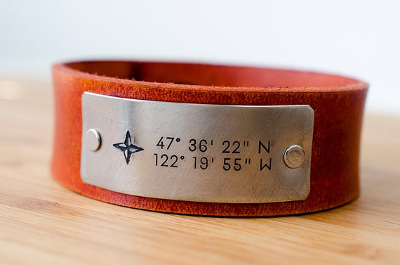 Custom Date Cuff with Compass and Latitude and Longitude of Your Special Place