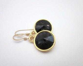 Grey Drop Dangles -- Grey Swarovski Dangles -- Dark Grey Crystal Earrings -- Gold & Dark Grey Earrings -- Graphite Earrings -- Grey Drops