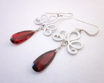 Red and Silver Scroll Earrings -- Red Cubic Zirconia Earrings -- Long Red Earrings -- Red & Silver Dangle Earrings -- Sparkling Red Earrings