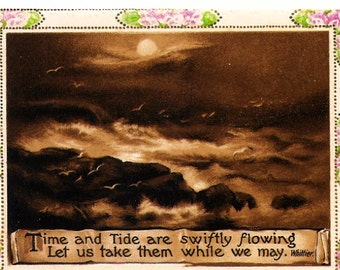 Antique Card Time And Tide Nautical Verse