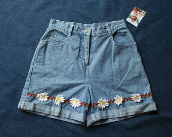 90s Denim Shorts / High Waist Cotton Shorts / Punky Brewster / Babysitters Club / Floral Embroidered Applique Shorts / Cuffed Shorts / Small