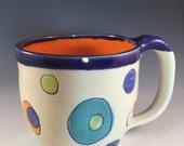 Polka Dot, Mug, Modern Mug, Orange Dot Mug, Primary Colors Mug, Unique Pottery Mug, Wheelthrown PolkaDot Mug, Spots