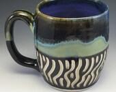 Zebra, Stripe, Mug,Black and white striped mug, Green striped mug, Stoneware Coffee Mug, Scraffitto Mug, Unique Handmade Mug,Zebra .