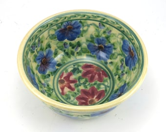 Cereal Bowl - Floral Ceramic Pottery Bowl - OOAK - Handmade Porcelain Bowl with Red and Blue Flowers