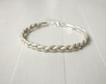 Braided leather bracelet white leather cuff bracelet minimalist bracelet for men for women