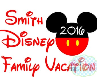 Family Vacation to Disney IRON ON TRANSFER-  Mickey Mouse - Disney