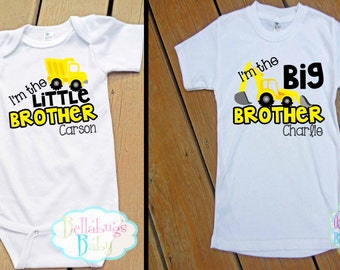 Big Brother Little Brother Construction Outfit - Bodysuit or Tshirt - Photo prop - Newborn - Personalized