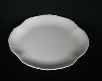vintage white oval platter with scalloped edge made in USA