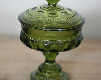 vintage kings crown covered candy dish green glass
