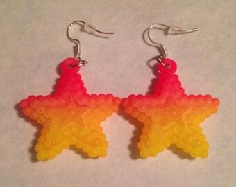 Pink and Orange Star Earrings