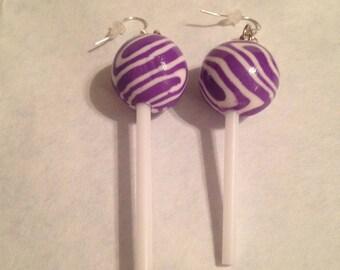 Grape and Cream Lollipop Earrings