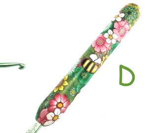 Boye, D 3/ 3.25mm, Polymer Clay Covered Crochet Hook, Colorful Flowers and Bees