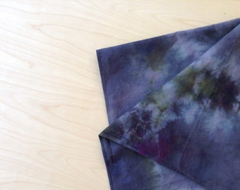 Hand Dyed Gray and Purple Handkerchief Scarf