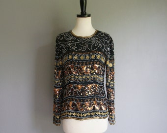 Vintage SEQUIN BEADED Long Sleeve TROPHY Silk Blouse (s-m)
