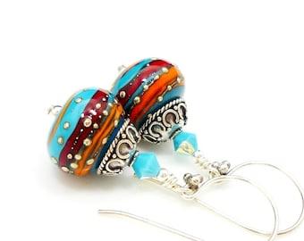 Southwestern Earrings, Lampwork Earrings, Glass Earrings, Glass Bead Earrings, Colorful Earrings, Glass Art Earrings, Beadwork Earrings