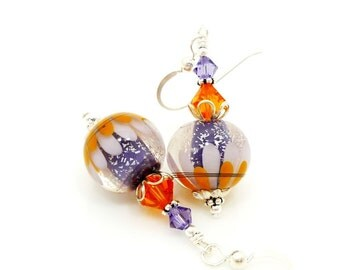 Orange Purple Sparkle Lotus Flower Earrings, Lampwork Earrings, Glass Bead Earrings, Unique Earrings, Glass Art Earrings, Dangle Earrings